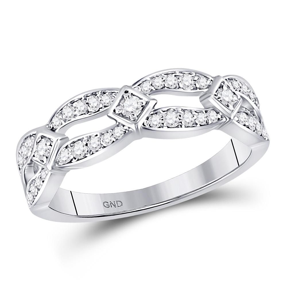 10kt White Gold Womens Round Diamond Open Band Ring 1 3 Cttw Round Diamond Engagement Rings Diamond Rings Bands Fancy Rings