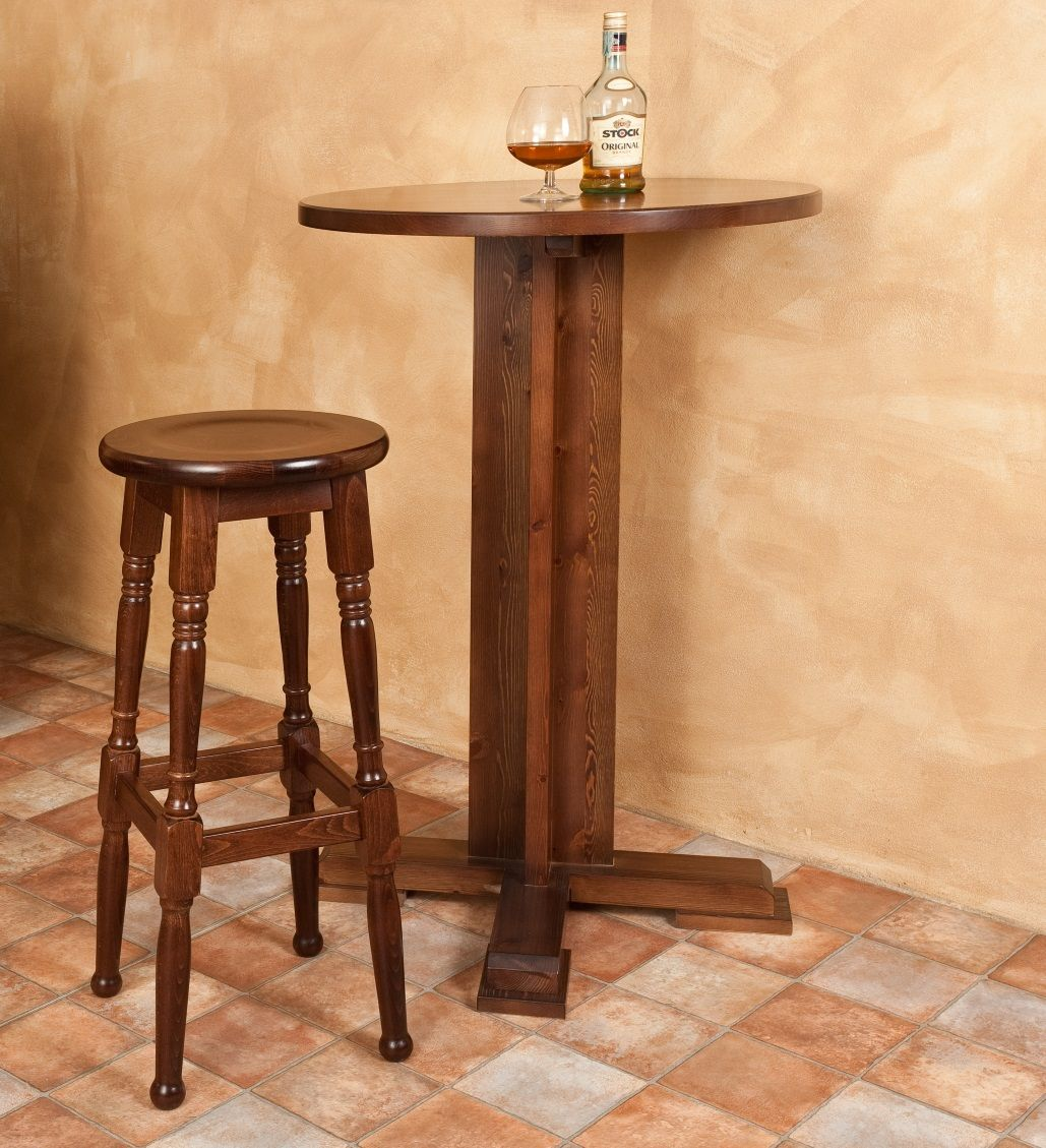 Tavolo Legno Di Pino table 070. solid swedish pine wood high table with a central