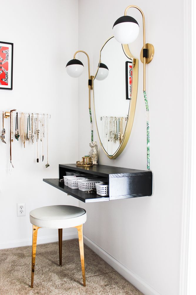 Wall Mounted DIY Makeup Vanity Table with Storage - An Easy Build! images