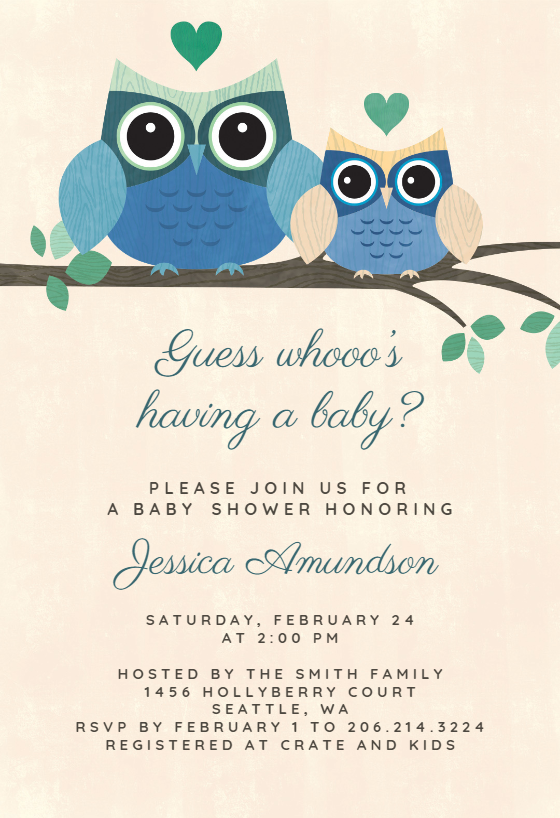 Lil/' Owl Collection Owl Birthday or Baby Shower Invitation Printable or Printed with FREE SHIPPING