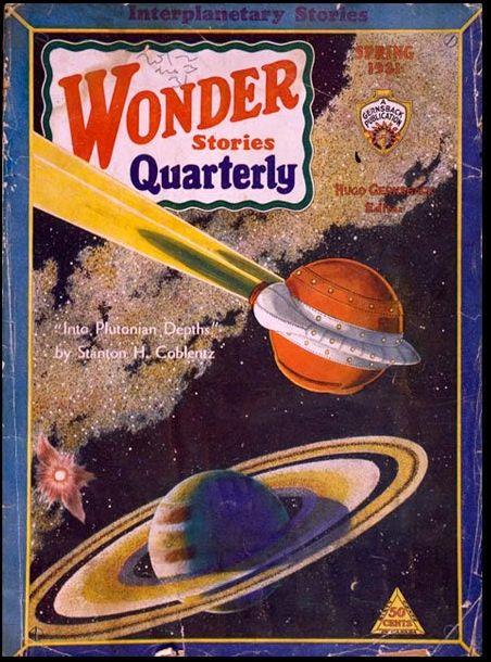 FRANK R. PAUL - art for Into Plutonian Depths by Stanton H. Coblentz - Spring 1931 Wonder Stories Quarterly