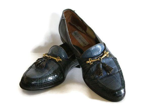 d4f3a14462e Vintage Mens Stacy Adams Blue Black Snakeskin Tassel Loafer Dress ...