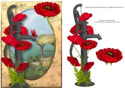 Red Poppies & Water Pump + Decoupage