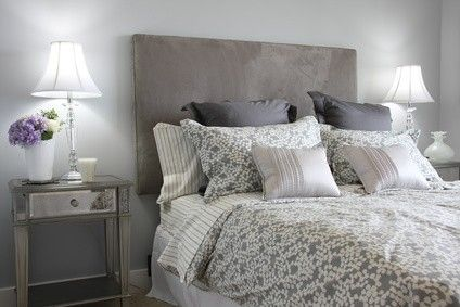 shabby chic pink and grey wallpaper lilac silver hotel chic bedroom interior styling