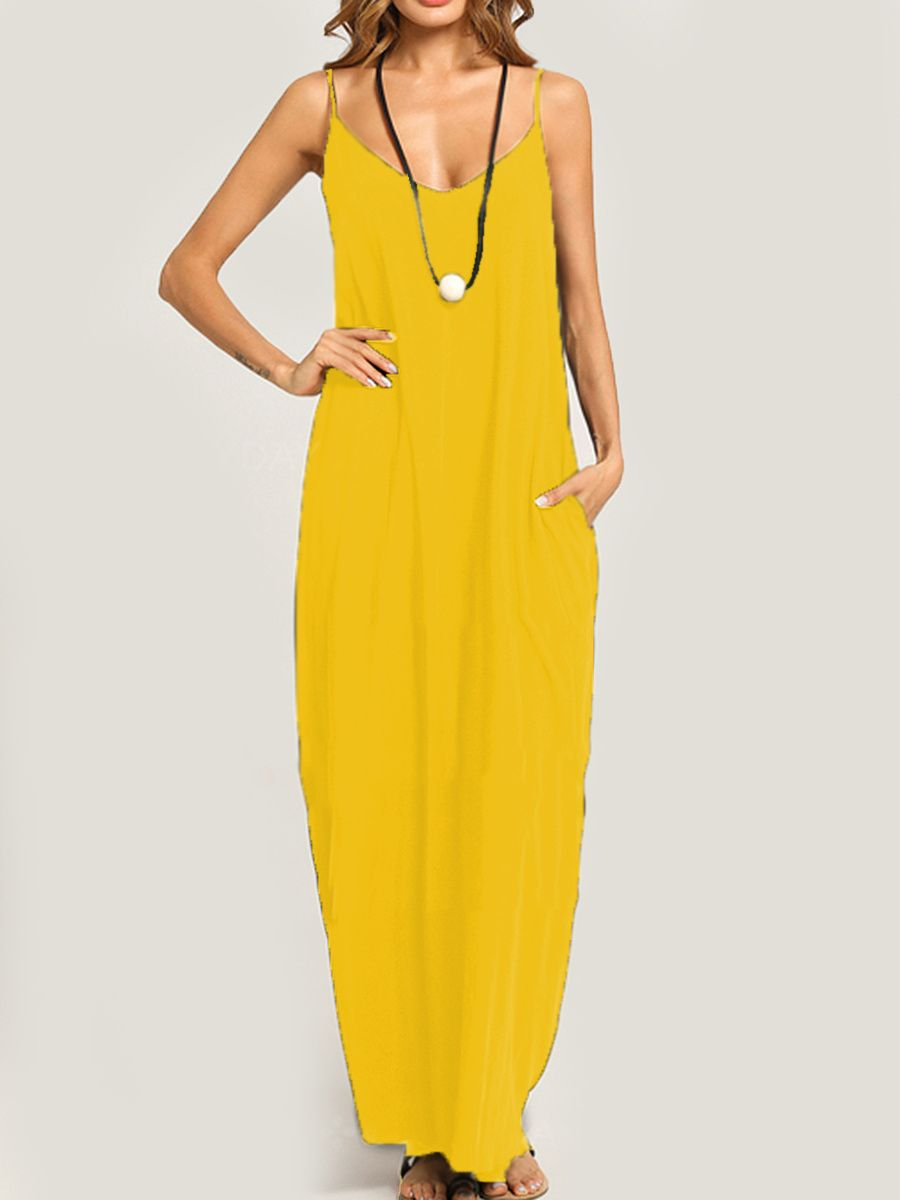 441dc5933a05d Summer Spaghetti Strap Pocket Plain Maxi Dress in 2019 | I'm Not a ...
