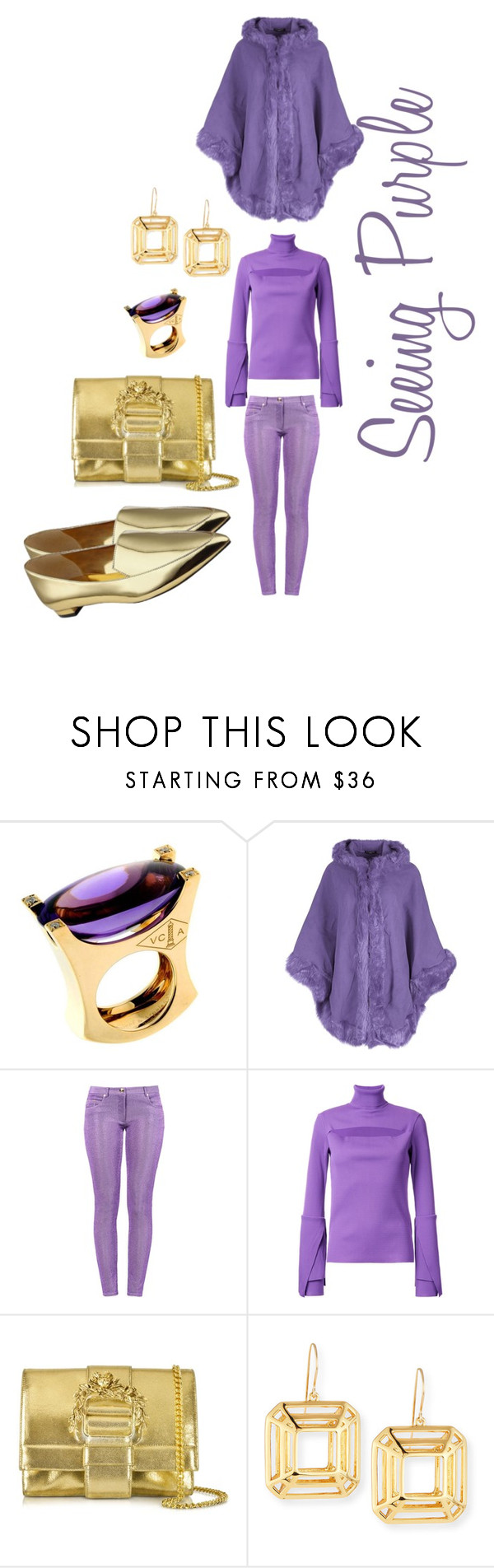 """Seeing Purple"" by michelle858 ❤ liked on Polyvore featuring Van Cleef & Arpels, Boutique Moschino, G.V.G.V., Roberto Cavalli, NEST Jewelry, Nine West, Winter, purple, 2016 and goldjewelry"