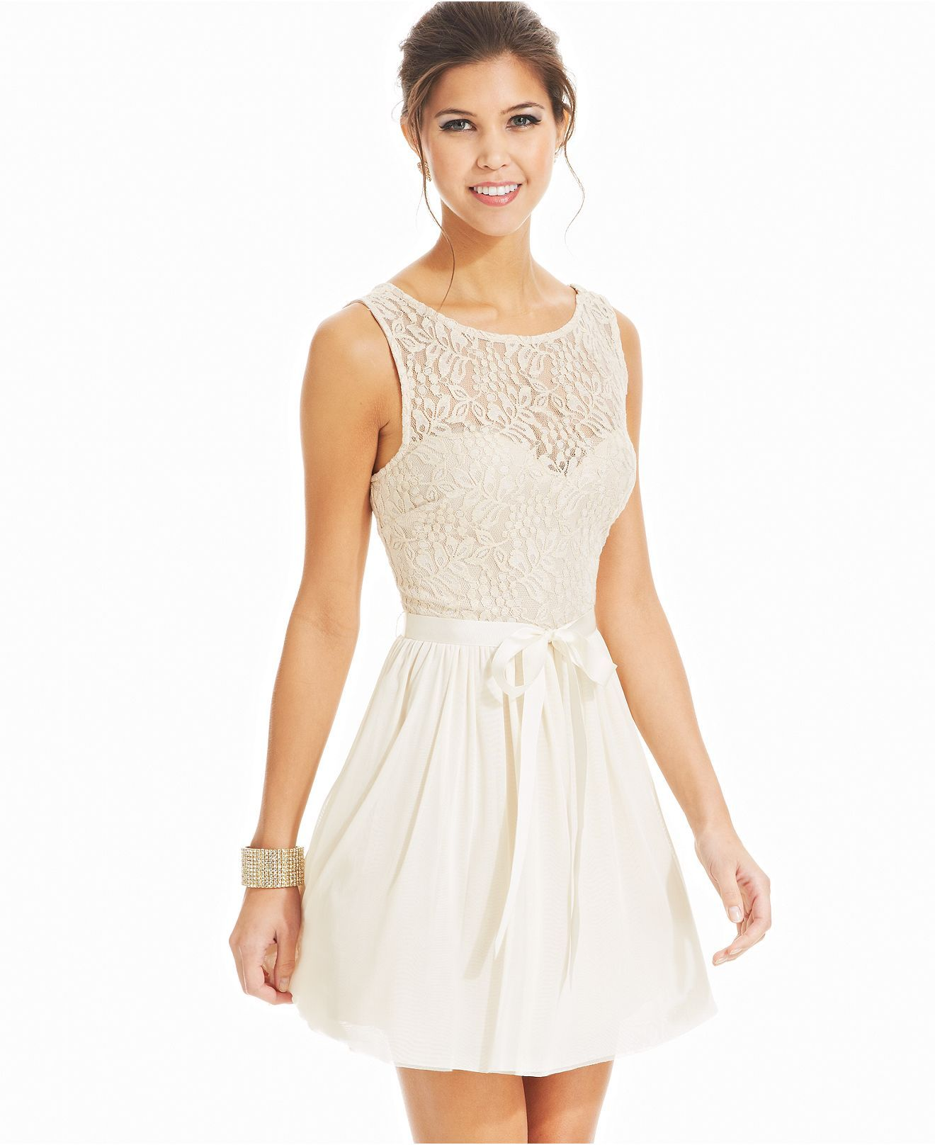Speechless Juniors Dress, Sleeveless Lace Illusion - Juniors Dresses ...