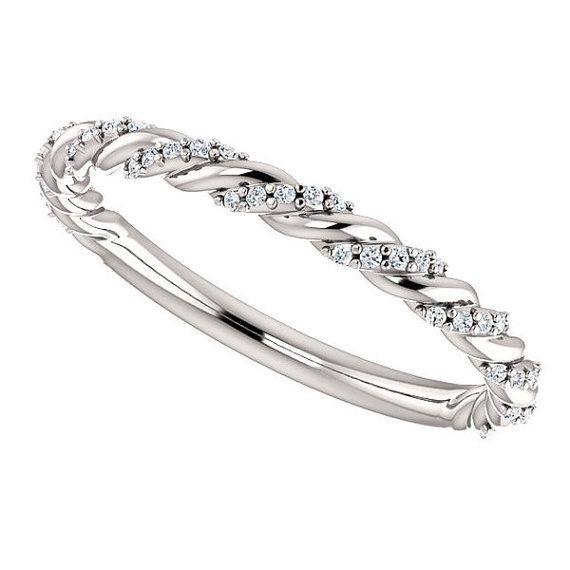 14kt White .12 CTW White Round Diamond Twisted by MNektaStudio