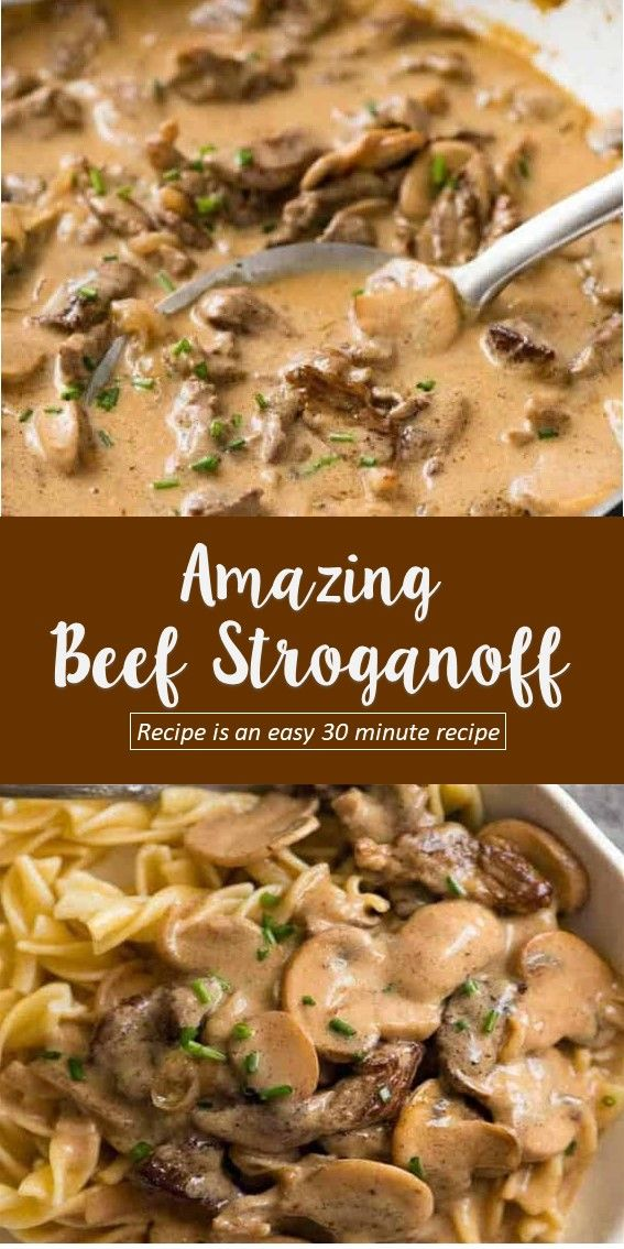 The most amazing Beef Stroganoff you will ever have! Golden seared juicy beef strips smothered in an incredible sour cream mushroom gravy, this Beef Stroganoff recipe is an easy 30 minute recipe.  #beef #dinner