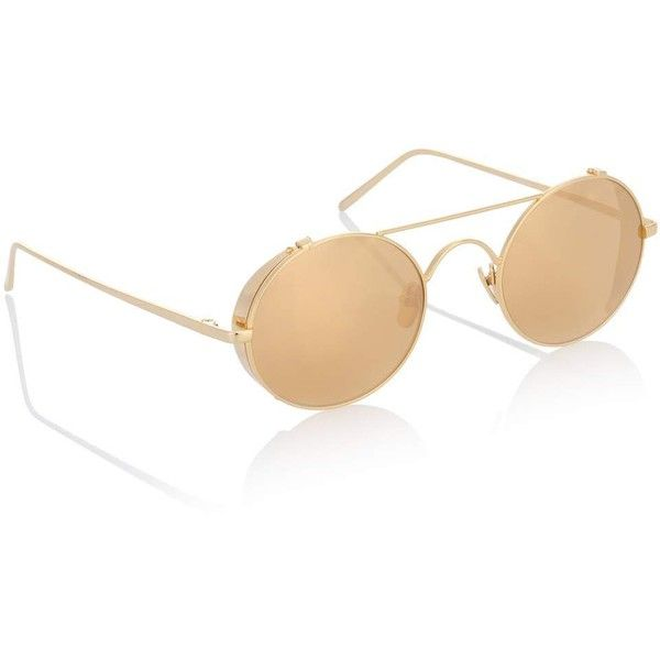 9fc12d6bbf Linda Farrow 427 C1 Oval Sunglasses in Yellow Gold (€950) ❤ liked ...