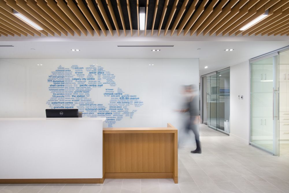 Reception At Cadillac Fairview  Office Interior Design By SSDG Interiors  Inc.   White U0026