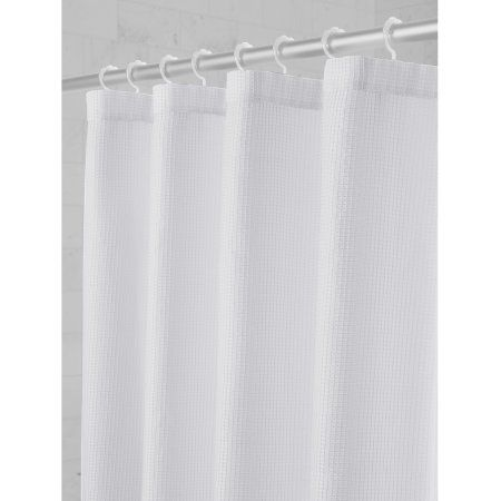 Maytex Smart Curtain Textured Waffle Fabric Shower Curtain With