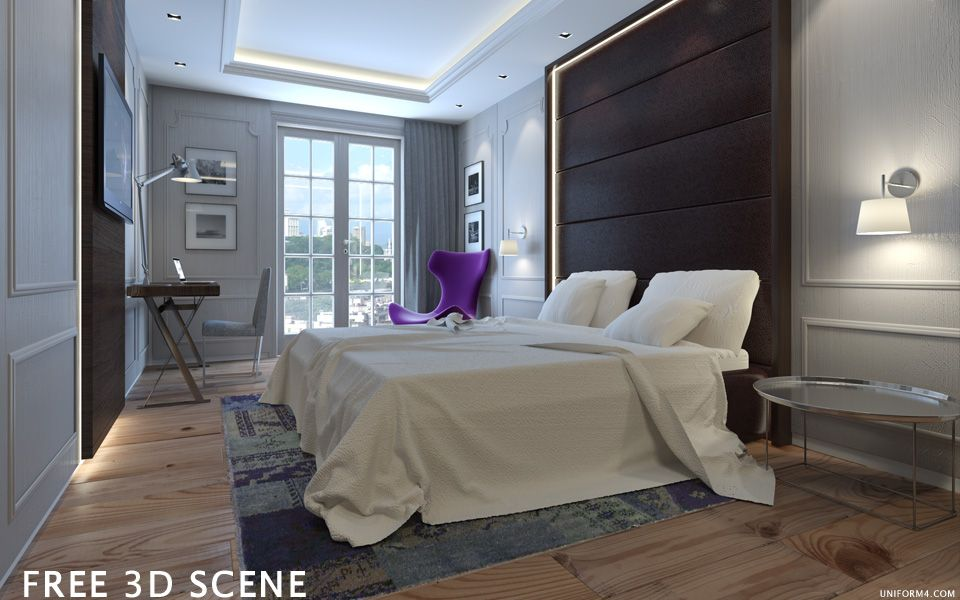 UNIFORM4   FREE 3D MODEL   HOTEL ROOM DONE IN 3D STUDIO MAX / VRAY SOFTWARE