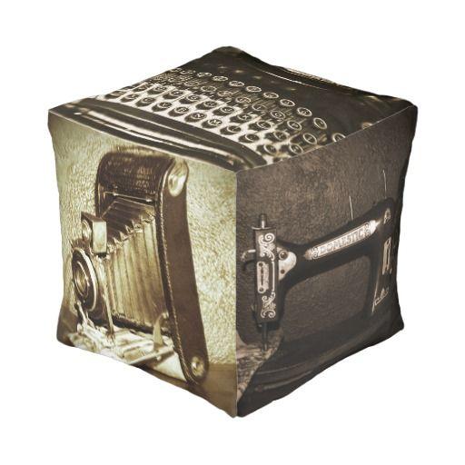Vintage Antiques Cube Pouf chair