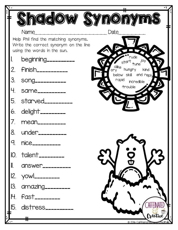 Shadow Synonyms Is A Great Worksheet To Use During Groundhog S Day For Students To Practice Finding Synonyms Part O February Math February Ideas Second Grade Synonym worksheet for 2nd grade