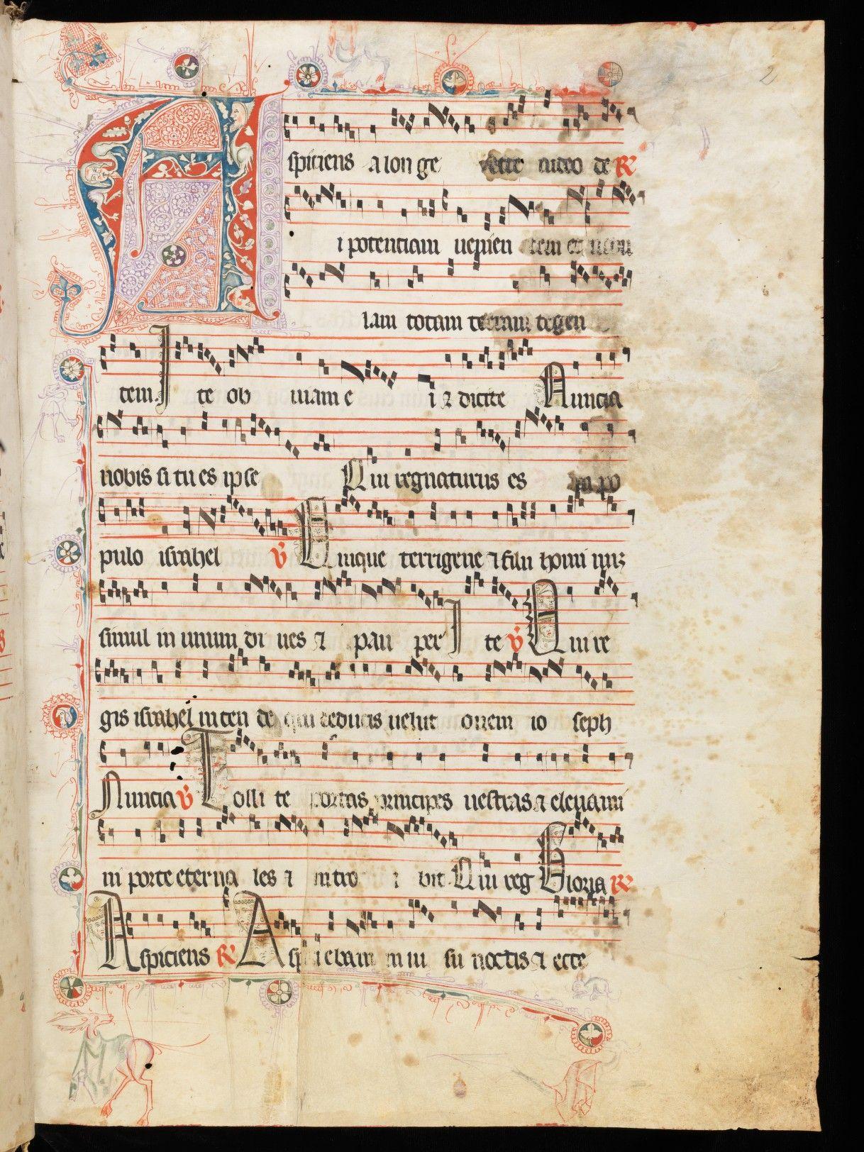 """Sion/Sitten, Archives du Chapitre/Kapitelsarchiv, Ms. 1   Parchment · I+257+I ff. · 46.5 x 33.5 cm · Sion/Sitten, Cathedral Chapter · 1347   Antiphonarium Sedunense (""""Temporale"""")"""