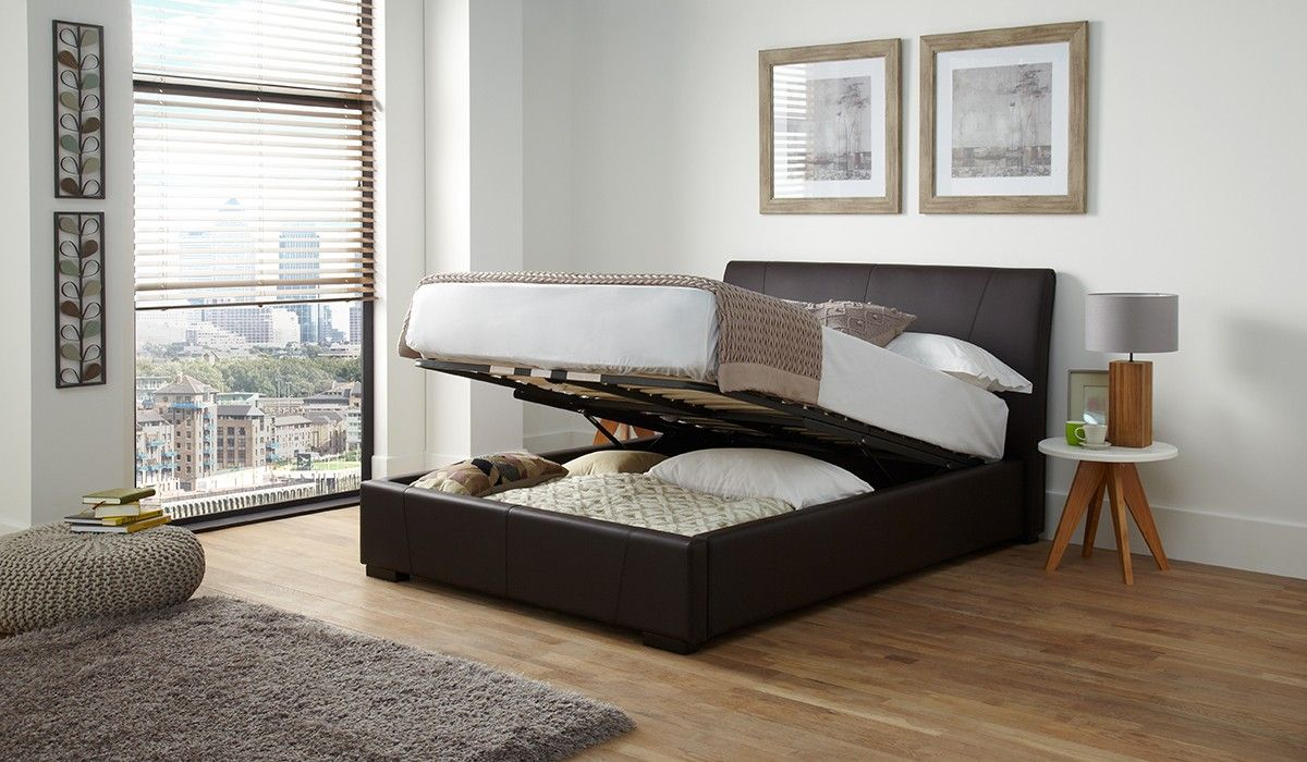 135cm Bedstead Vegas Brown Front Opening Ottoman Faux Leather Ottoman Ottoman Bed Bed
