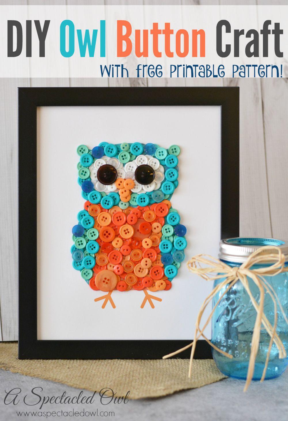 Owl Craft Ideas For Kids Part - 19: DIY Owl Button Craft