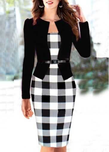f5d4b205847 Fake Two Piece Design Puff Sleeve Dress with cheap wholesale price ...