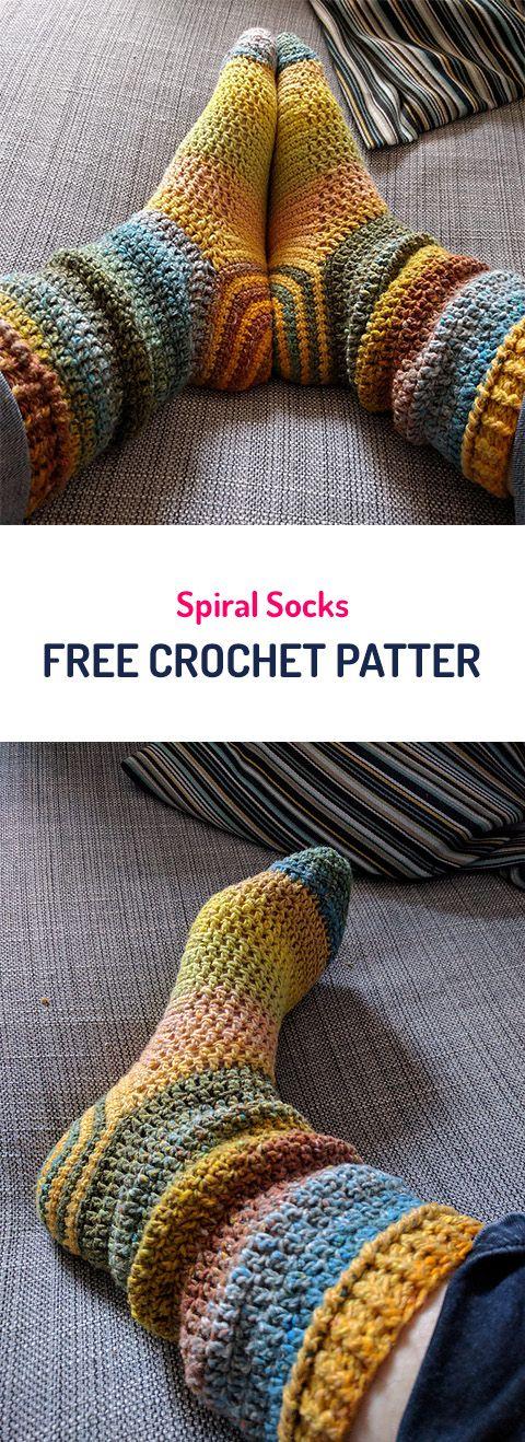 Spiral Socks Free Crochet Pattern #crochet #crocheting #crocheted ...
