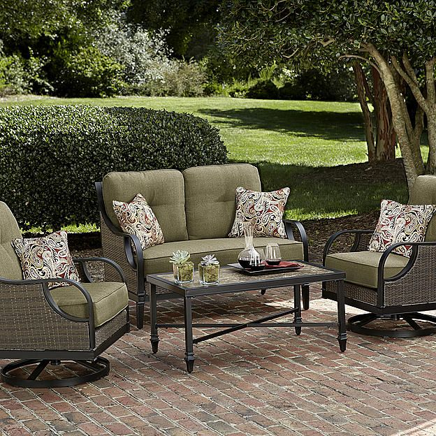 La Z Boy Outdoor Charlotte 4 Piece Seating Set  Red