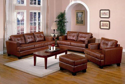 4 PCs Burnt Orange Classic Leather Sofa, Loveseat, Chair, And Ottoman Set  $1285.44
