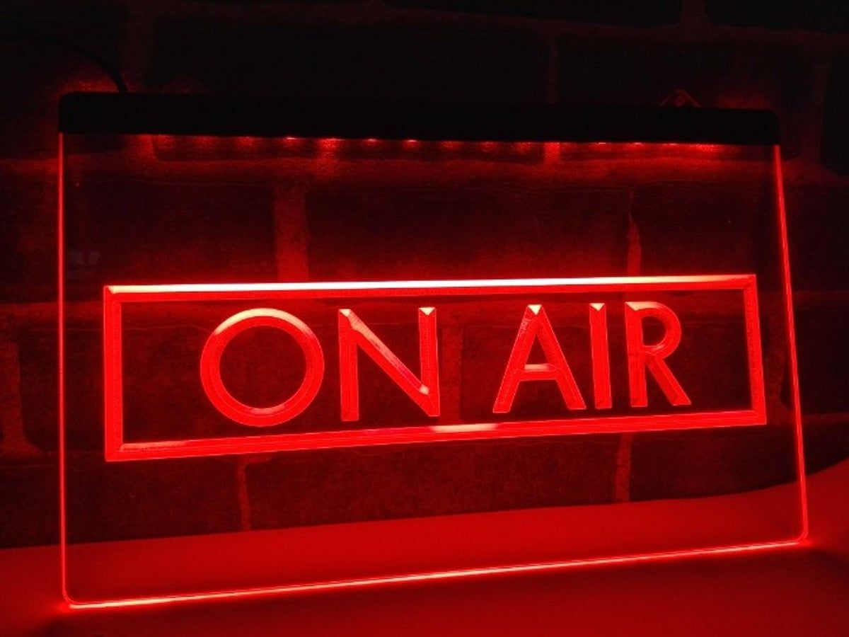 Framed On Air LED Sign RED Radio Podcast | Light up signs, Recording  studio, Music studio room