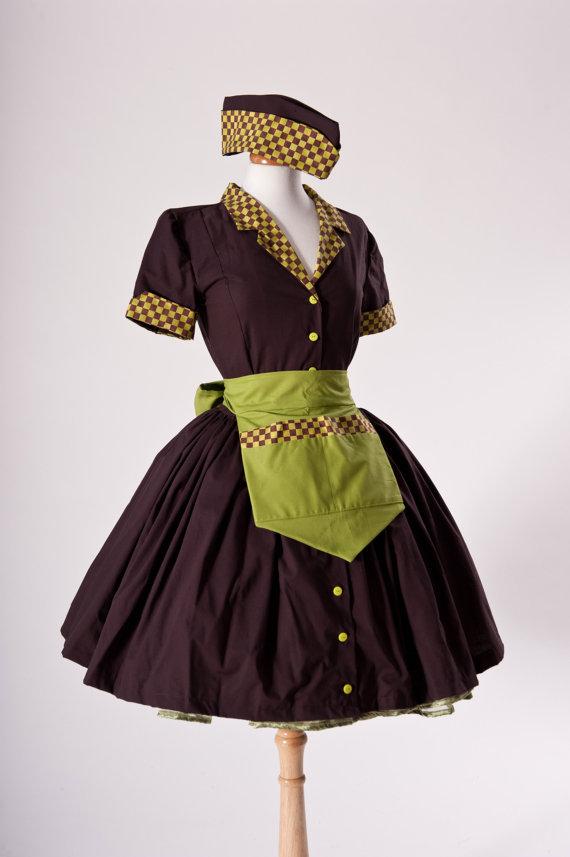 852e5b9d4a377 Car Hop Costume Retro 50s Waitress Dress Apron and by MGDclothing, $239.95