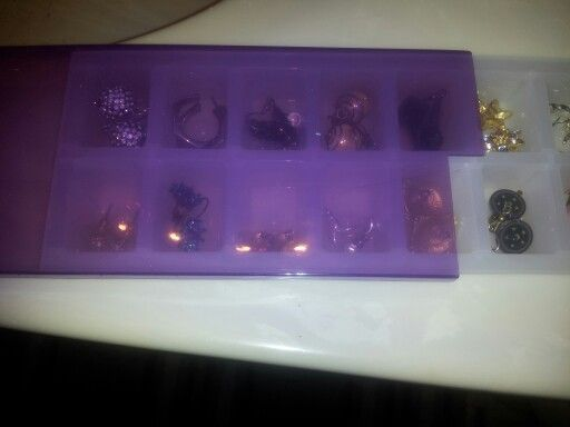 Covered ice cube tray makes great jewelry organizer from Dollar