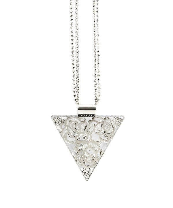 Look at this Crystal & White Gold Rose Triangle Pendant Necklace on #zulily today!