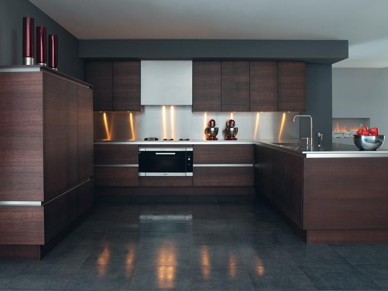 Wood Veneer Kitchen Cabinets With Dark Brown Colors And Floors