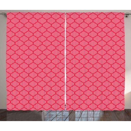 Coral Curtains 2 Panels Set, Quatrefoil Pattern Gothic Renaissance ...
