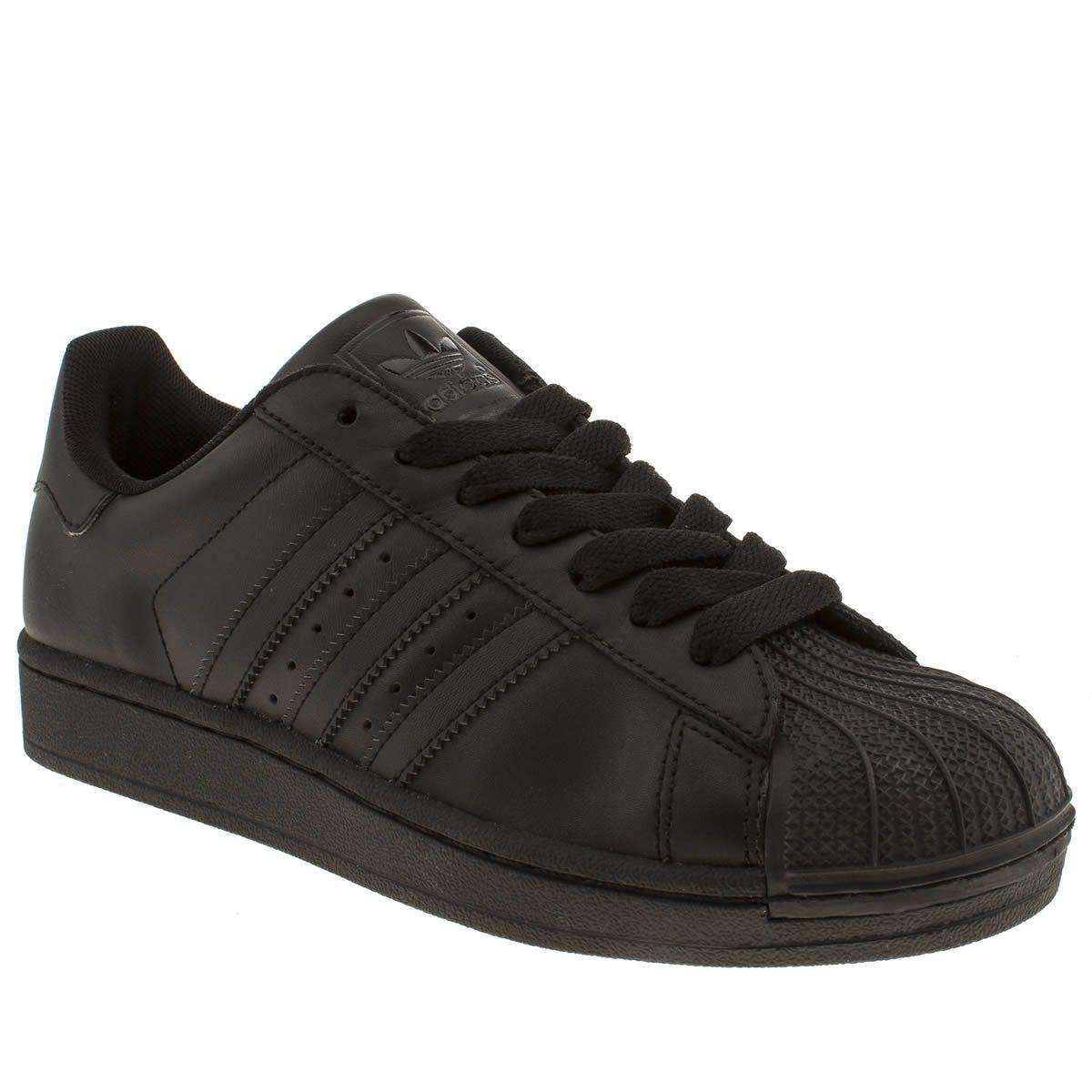 black adidas superstars ladies trainers