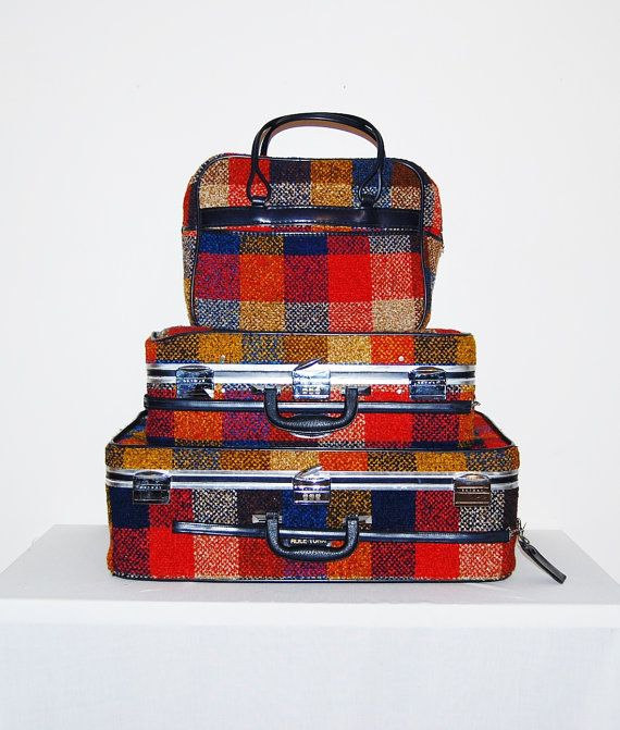 reserve partial..........Vintage Luggage Plaid Skyway 60s....Three ...