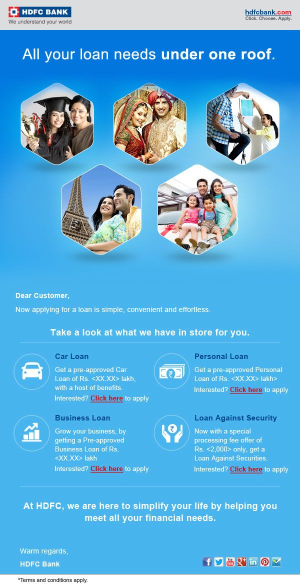 Hdfc Bank Responsive Mailer Apply For A Loan Personal Loans How To Apply
