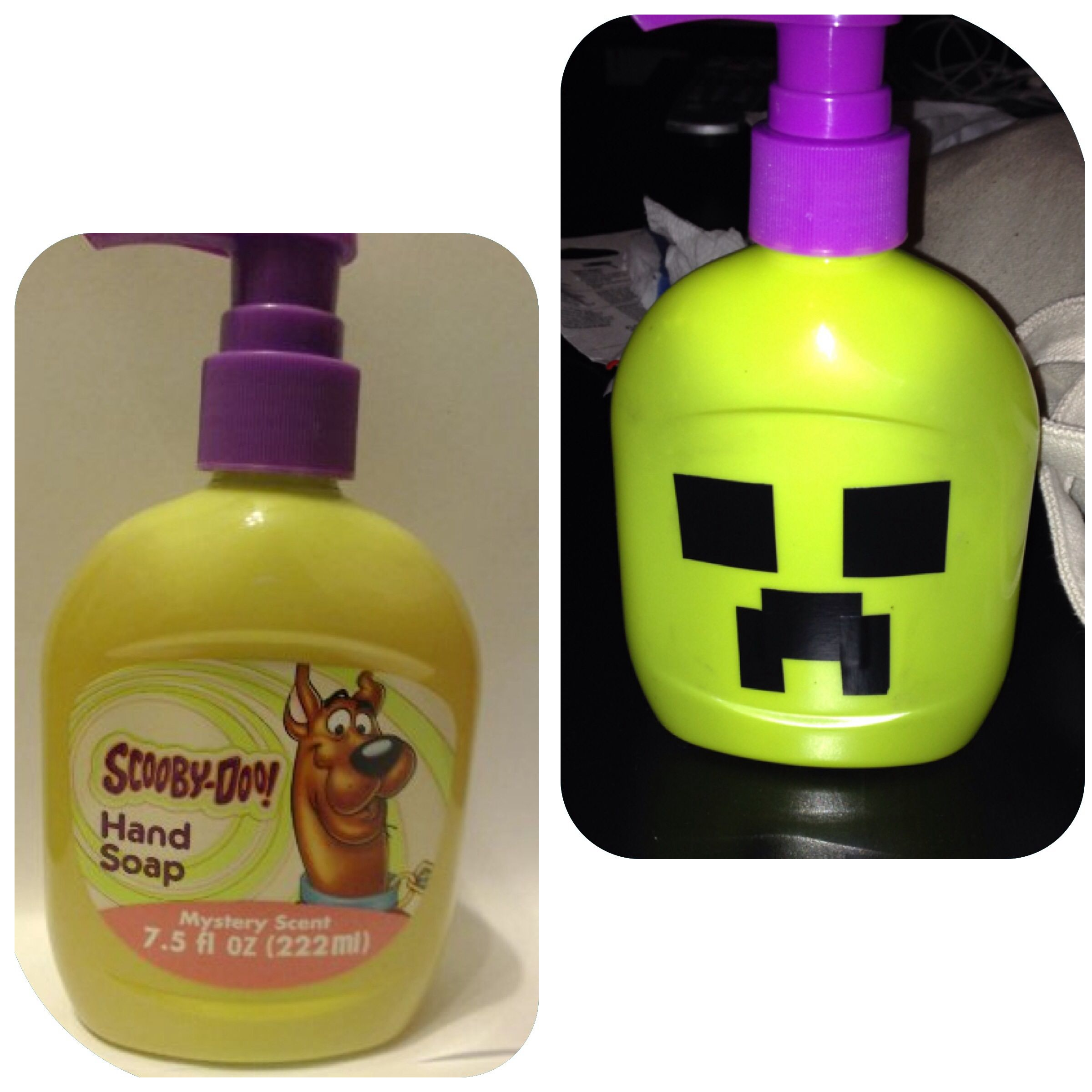 DIY Minecraft Soap For Bday Party Found This Scooby Doo Hand On Sale At Target Removed Label Added Creeper Face With Black Tape TA DA