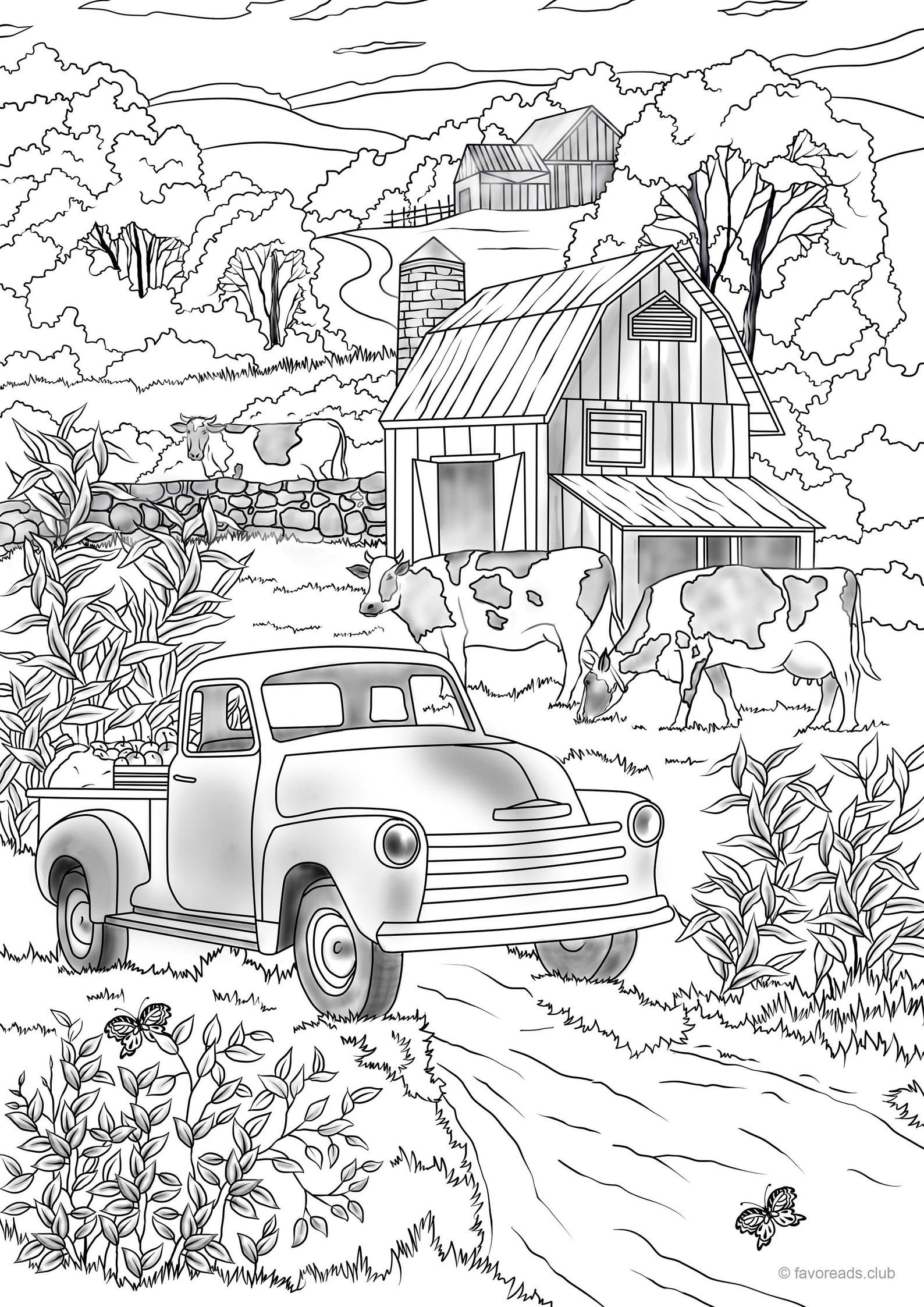 Country Car - Printable Adult Coloring Page from Favoreads (Coloring book pages for adults and kids, Coloring sheets, Coloring Designs) #adultcoloringpages