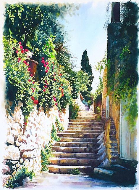 Beni Gassenbauer, Ein Kerem: watercolor, 57x76cm on ArtStack #beni-gassenbauer #art