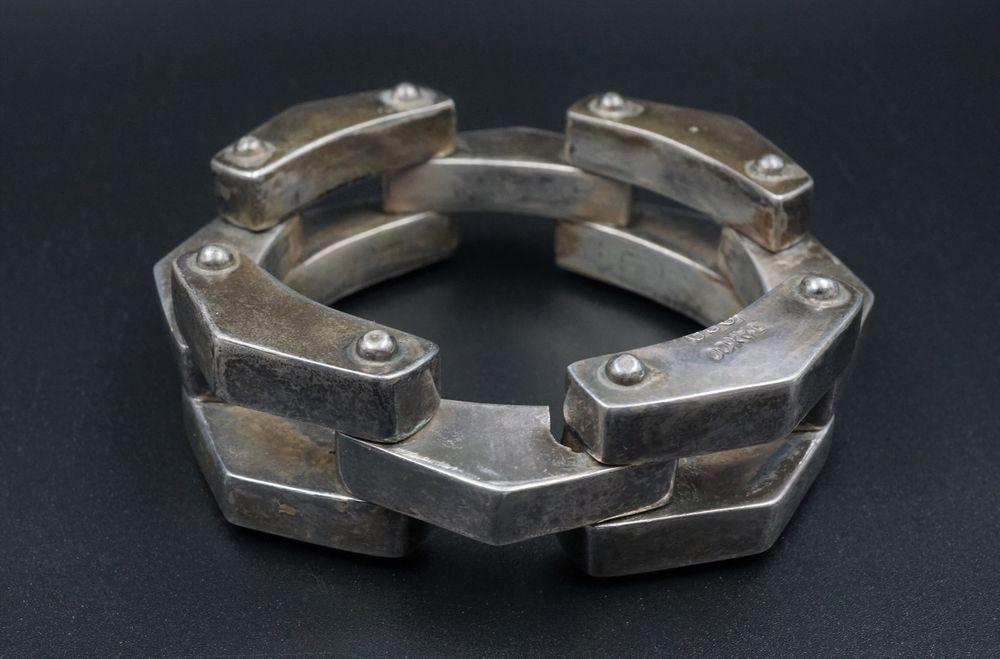 Vintage Taxco Fine Sterling Silver Industrial Wide Gate Link Bracelet 980 BS813 #Taxco