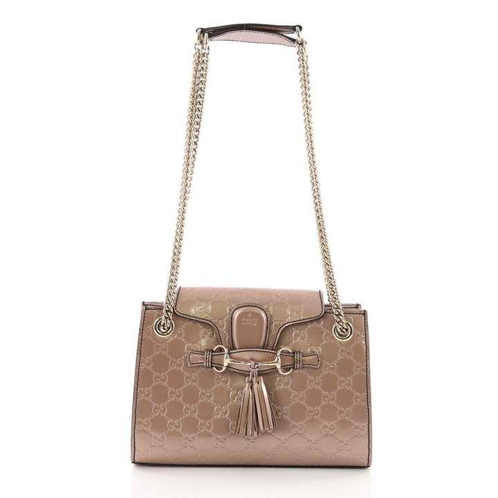 Gucci Emily Pink Patent Leather Handbag