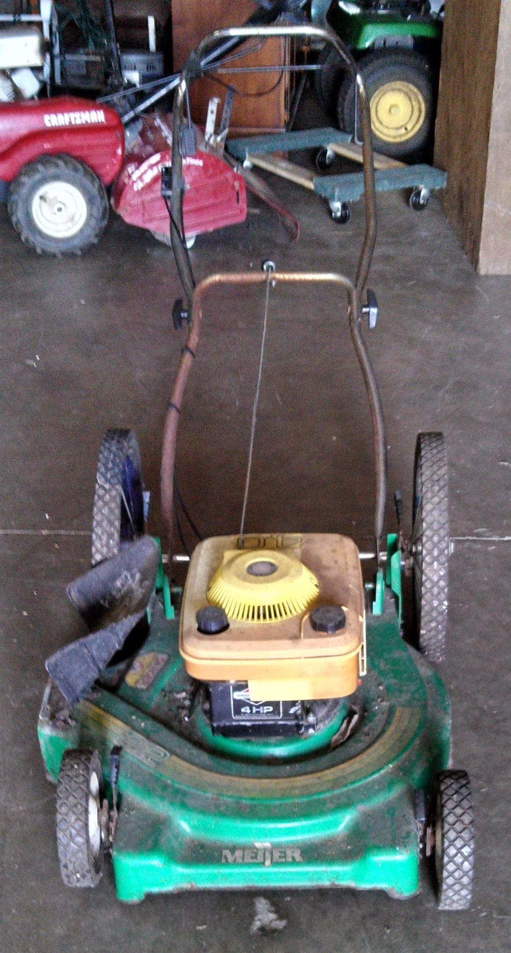 Green Meijer Brand Push Lawn Mower Auction Items Push