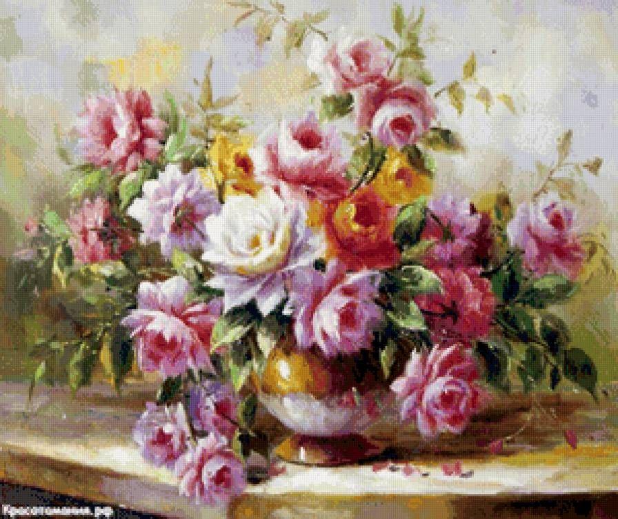 Схемы вышивки крестиком цветов бесплатно: розы, маки, орхидеи 70