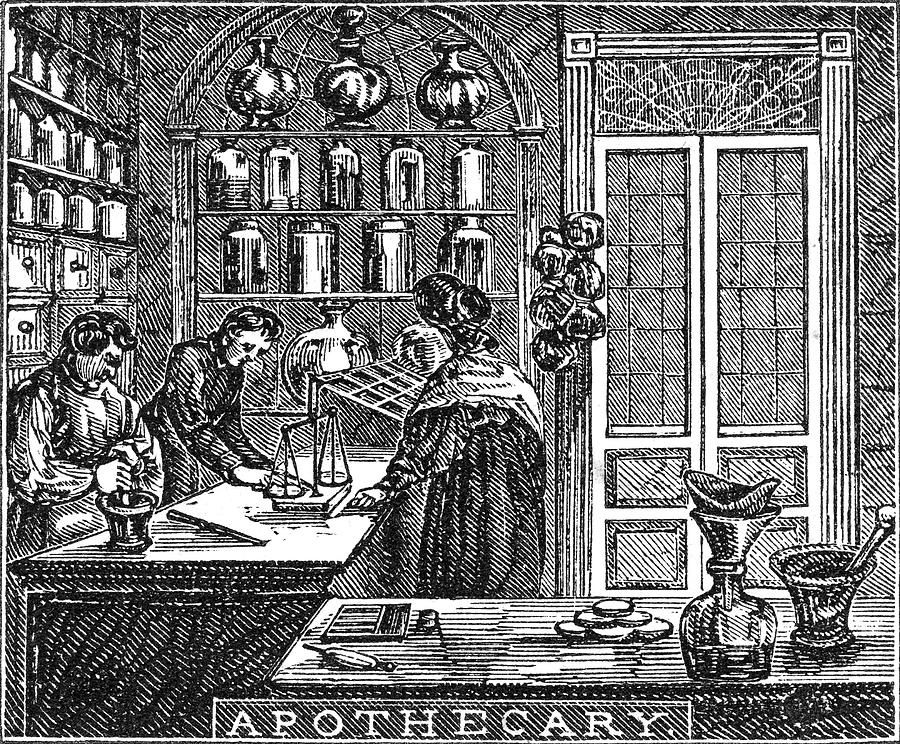 Looks like it could be an old wood-cut showing an apothecary at work.