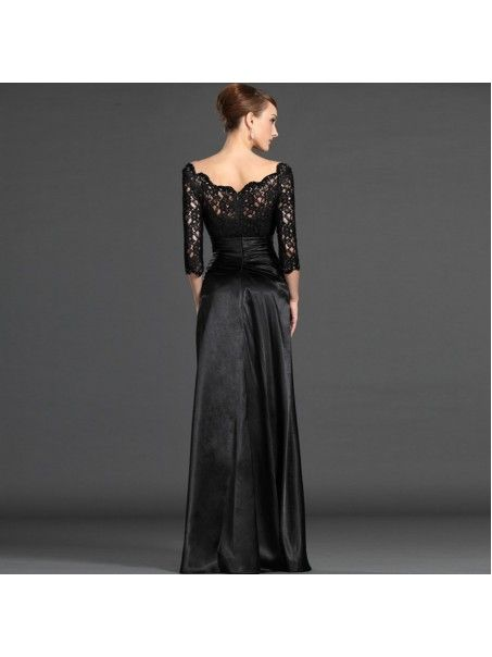 78719e25ae3d5 Long Black 3 4 Length Sleeves Off-the-Shoulder Lace Mother of The Bride  Dresses 99503003