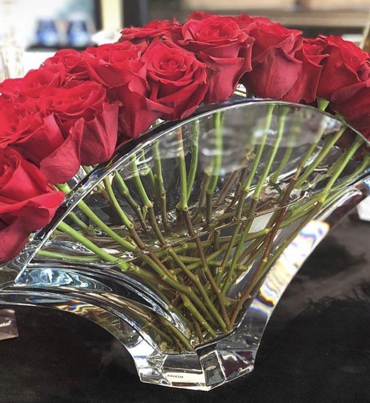 Baccarat Roses Or Tulip Ginkgo Vase Baccarat Crystal Crystal Vase Flower Arrangements