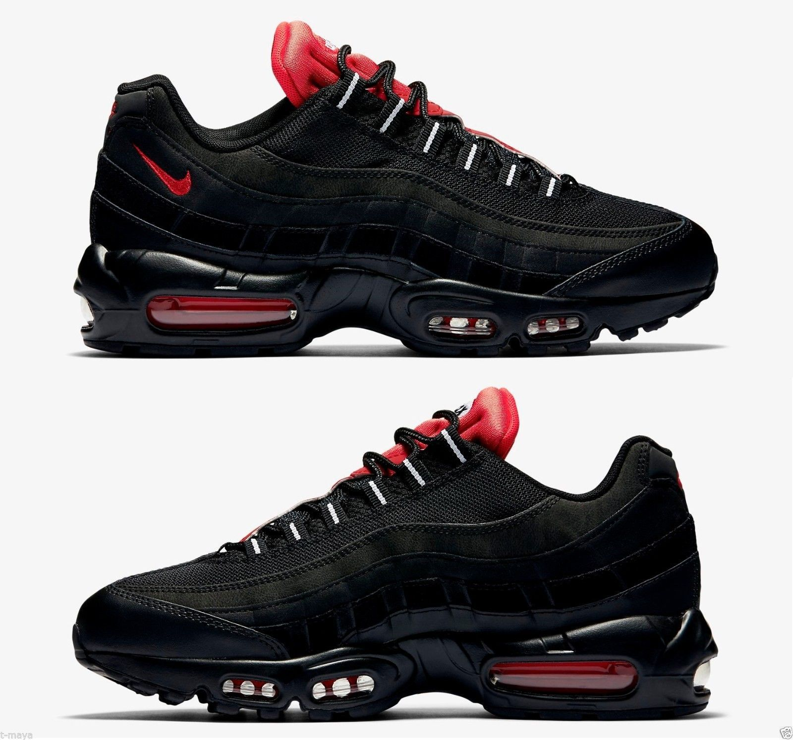 Nike Air Max 95 Essential Men S Running Mesh Black Challenge Red