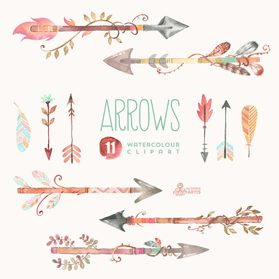 arrows watercolor clipart 11 hand painted elements feathers diy
