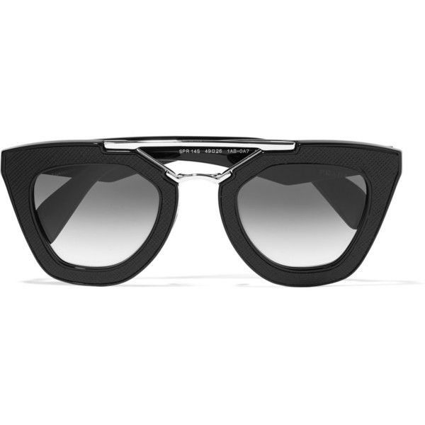 Prada D-frame textured-acetate and silver-tone sunglasses ($340 ...