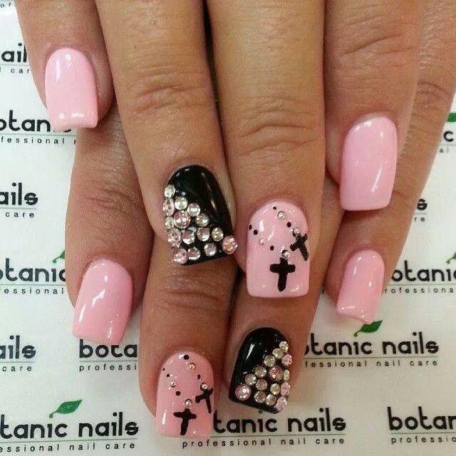 Pink and Black girlie punk nail art bling cross #followme - Pink And Black Girlie Punk Nail Art Bling Cross #followme Nueva