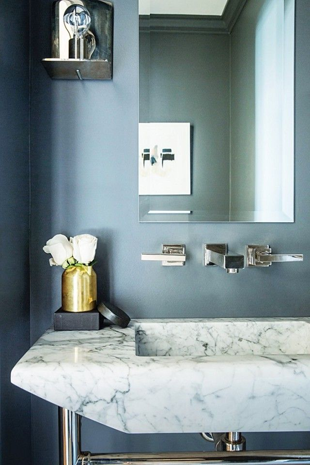 Tour A Timeless Family Home In New Jersey Gray Bathroom Decor Blue Powder Rooms Slate Blue Paint
